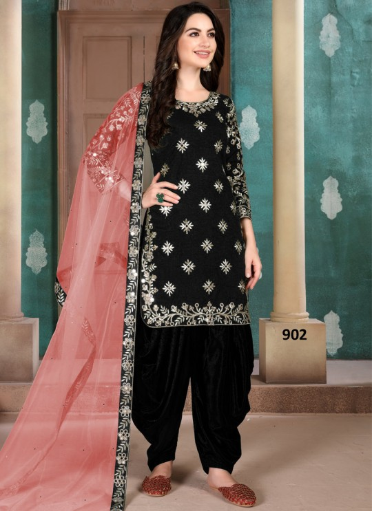 Aanaya Vol 109 By Dani Fashion 902 Black Art Silk Designer Patiala Salwar Suit
