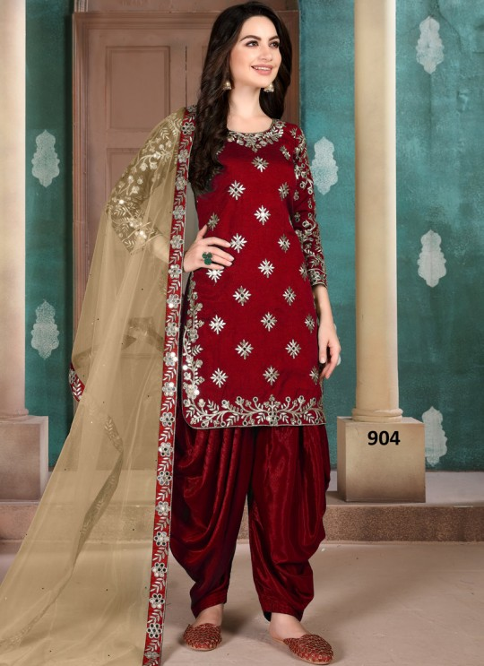 Aanaya Vol 109 By Dani Fashion 904 Maroon Art Silk Designer Patiala Salwar Suit