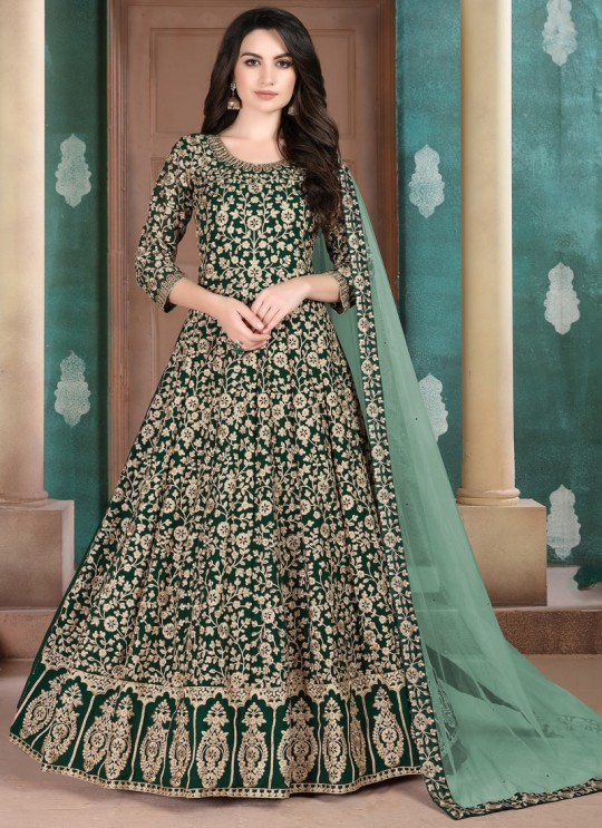 Aanaya Vol 108 By Dani Fashion 801 Green Faux Georgette Wedding Wear Floor Length Anarkali