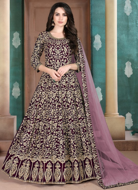Aanaya Vol 108 By Dani Fashion 802 Magenta Faux Georgette Wedding Wear Floor Length Anarkali