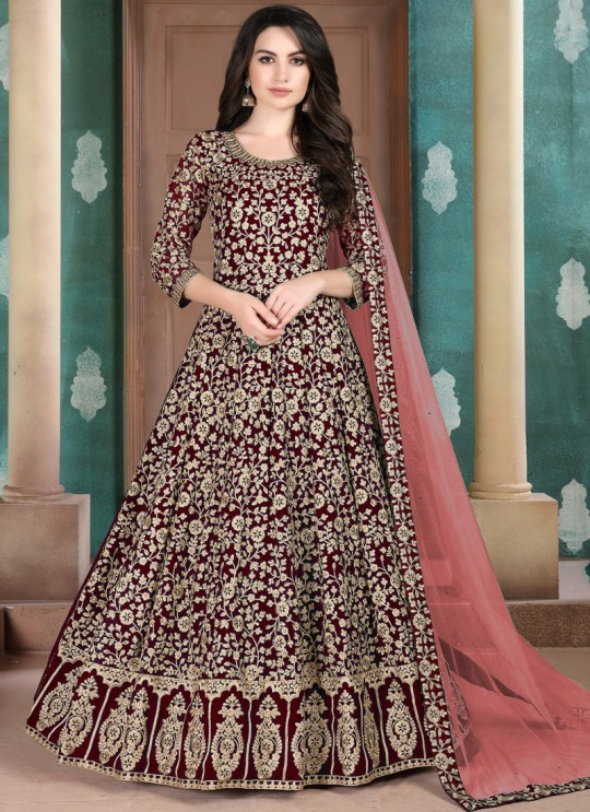 Aanaya Vol 108 By Dani Fashion 804 Wine Faux Georgette Wedding Wear Floor Length Anarkali
