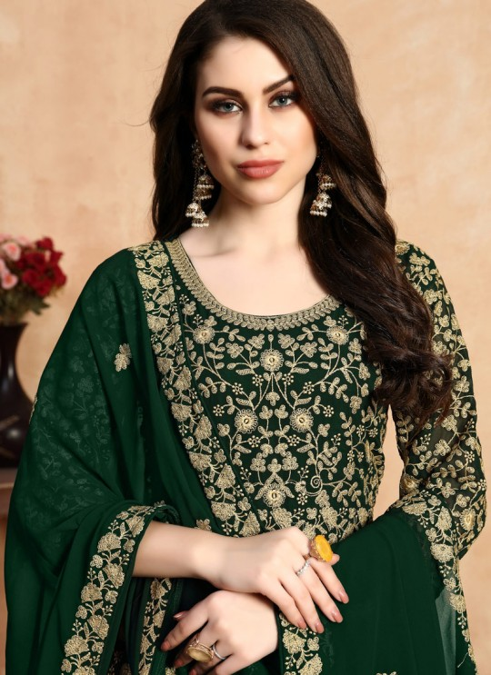 Abaya Style Georgette Bridal Anarkali In Green Anaya Vol 5 By Dani Creation 501