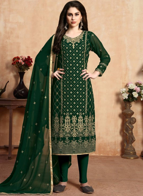 Faux Georgette Embroidered Churidar Suit For Eid 2020 In Green Aanaya Vol 106 By Dani Creation 601