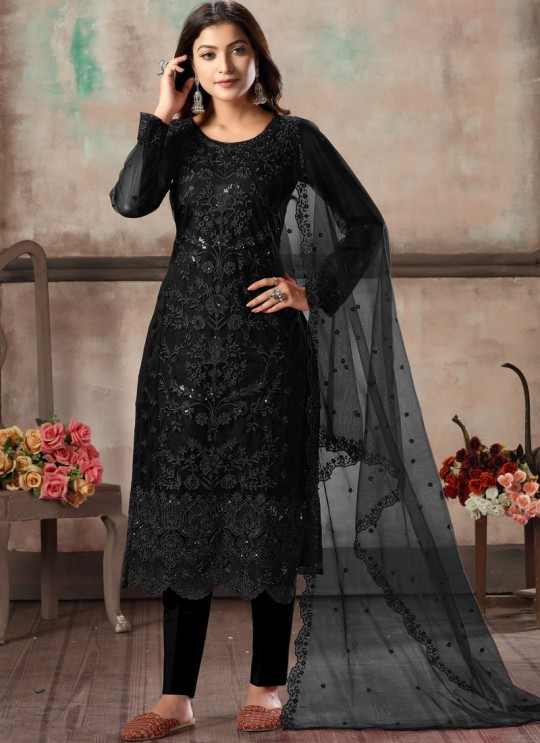Black Net Embroidered Party Wear Straight Cut Suit Vaani Vol 1 By Dani Creation 11