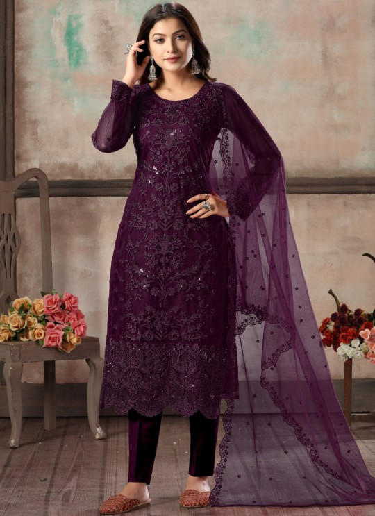 Purple Net Embroidered Party Wear Straight Cut Suit Vaani Vol 1 By Dani Creation 12