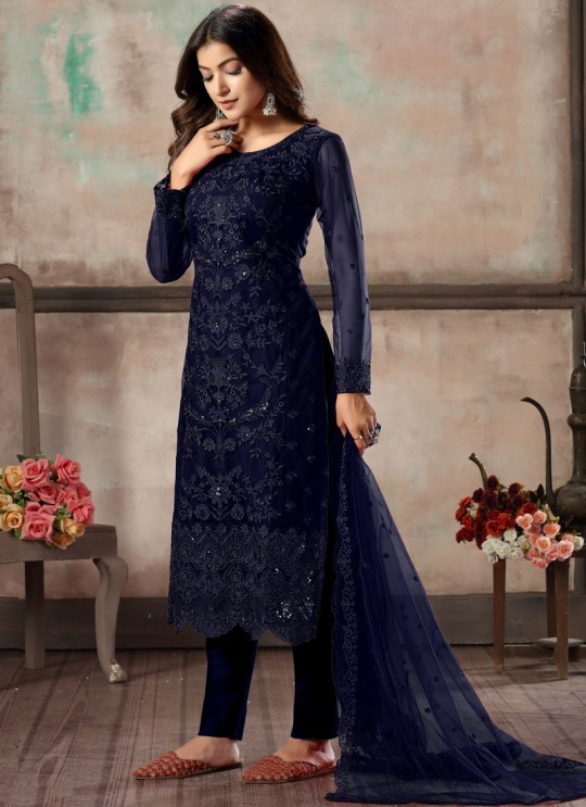 Blue Net Embroidered Party Wear Straight Cut Suit Vaani Vol 1 By Dani Creation 13