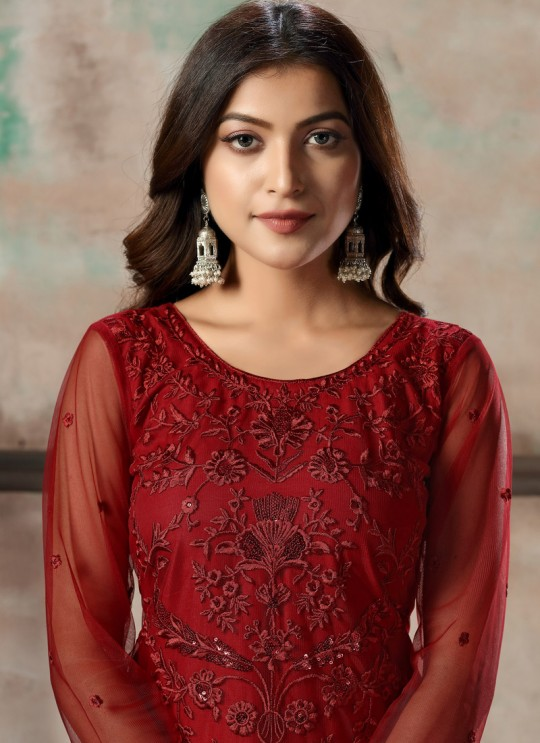 Red Net Embroidered Party Wear Straight Cut Suit Vaani Vol 1 By Dani Creation 14