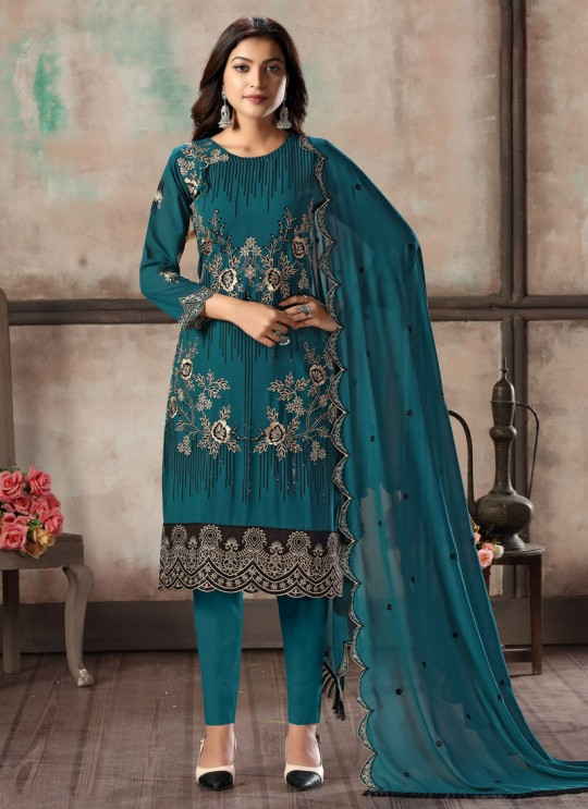 Teal Blue Faux Georgette Embroidered Festival Wear Churidar Suit Vaani Vol 2 By Dani Creation 21