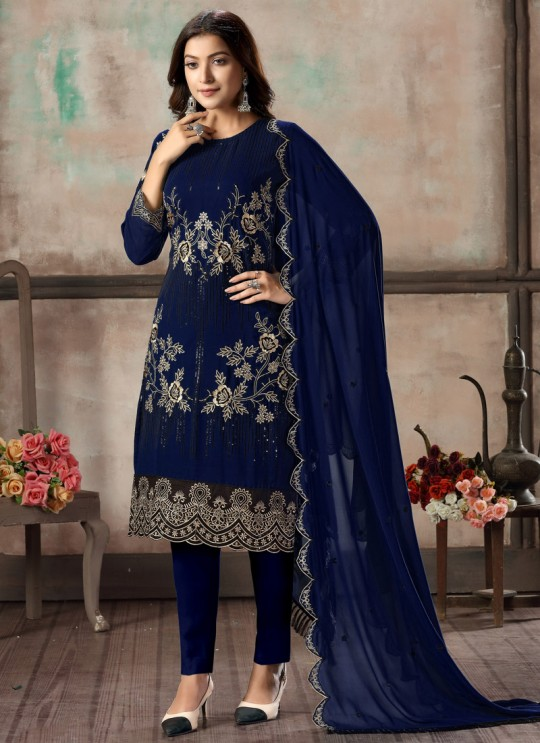 Blue Faux Georgette Embroidered Festival Wear Churidar Suit Vaani Vol 2 By Dani Creation S23