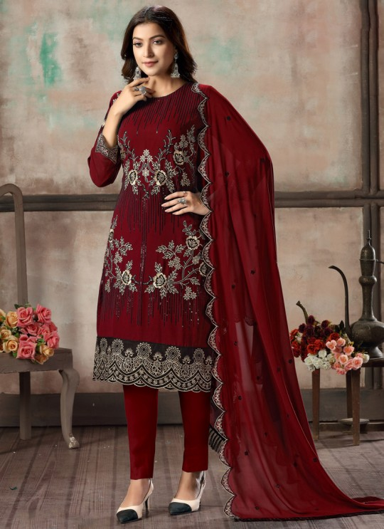 Red Faux Georgette Embroidered Festival Wear Churidar Suit Vaani Vol 2 By Dani Creation 24
