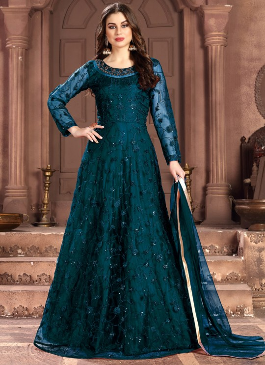 Aanaya Vol 100 By Dani Fashion 100005 Teal Blue Net Evening Wear Gown Style Anarkali