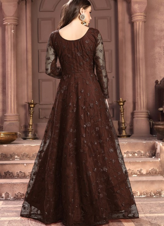 Aanaya Vol 100 By Dani Fashion 100008 Brown Net Evening Wear Gown Style Anarkali