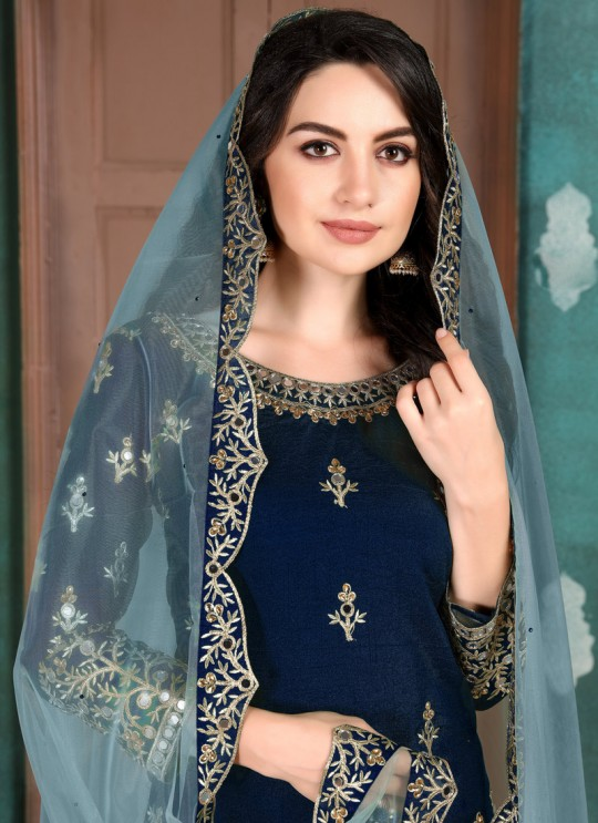 Aanaya Vol 107 By Dani Creation 703 Blue Art Silk Party Wear Patiala Salwar Suit