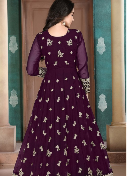 Aanaya Vol 110 By Dani Fashion 1002 Purple Faux Georgette Wedding Wear Abaya Style Suit