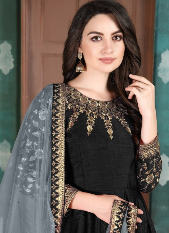Aanaya Vol 111 By Dani Fashion 1101 Black Adda Silk Wedding Wear Abaya Style Suit