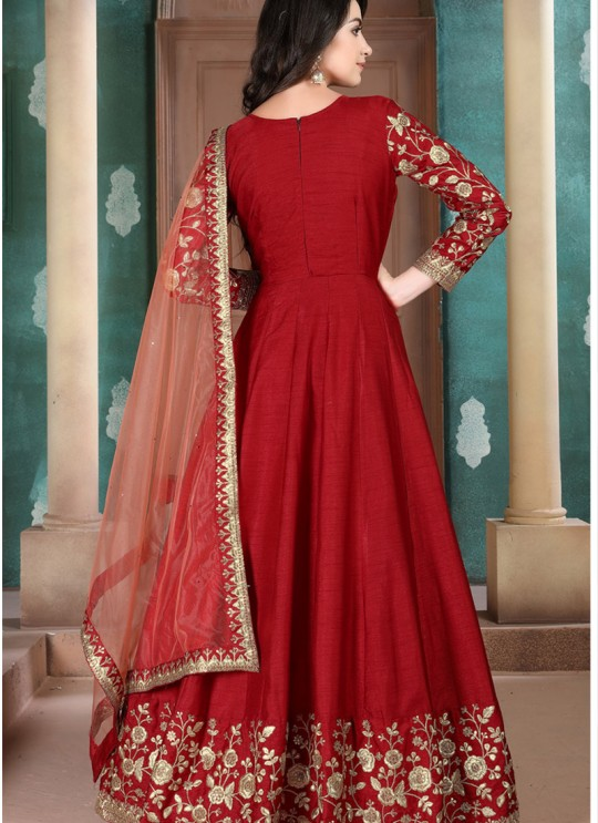 Aanaya Vol 111 By Dani Fashion 1104 Red Adda Silk Wedding Wear Abaya Style Suit