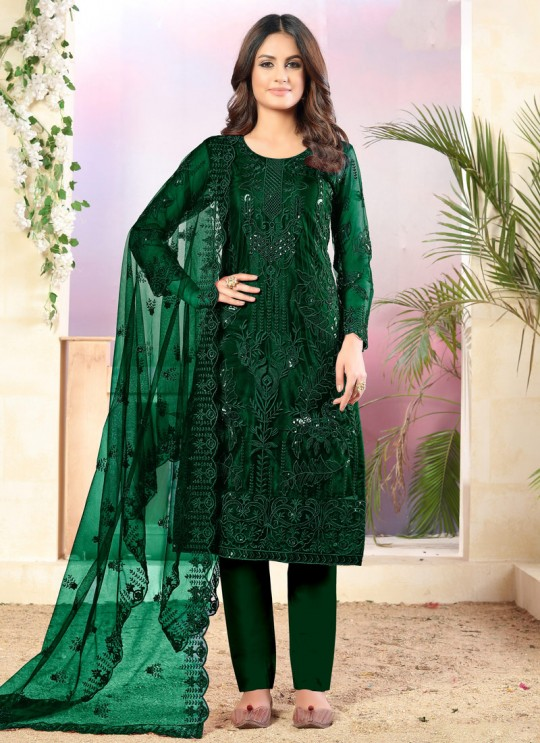 Vaani Vol 3 By Dani Fashion 31 Green Net Designer Straight Cut Suit