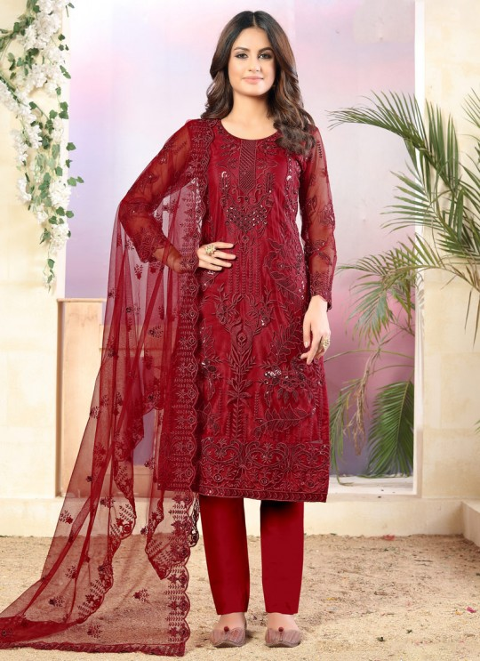 Vaani Vol 3 By Dani Fashion 34 Red Net Designer Straight Cut Suit