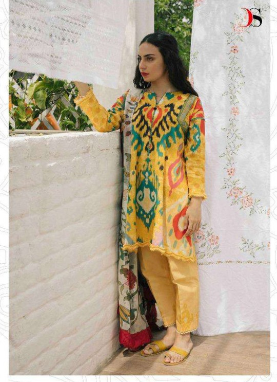 Coco By Deepsy Yellow Pure Cotton Eid Wear Pakistani Suit 32