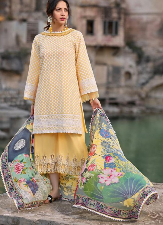 Yellow Pure Cotton Chikankari Summer Wear Pakistani Suits Eidi 800602 By Deepsy SC/015349