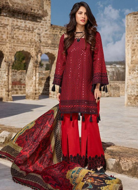 Red Pure Cotton Chikankari Summer Wear Pakistani Suits Eidi 800604 By Deepsy SC/015349