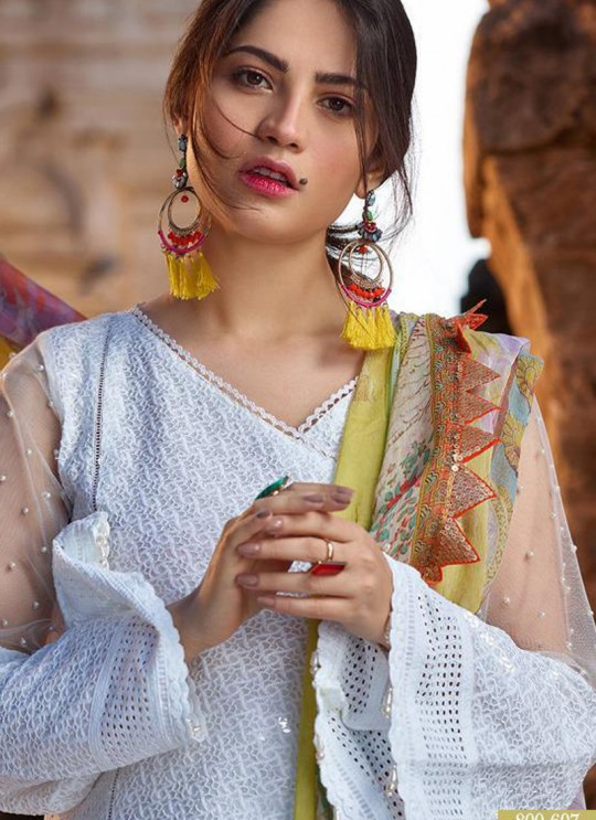 White Pure Cotton Chikankari Summer Wear Pakistani Suits Eidi 800607 By Deepsy SC/015349