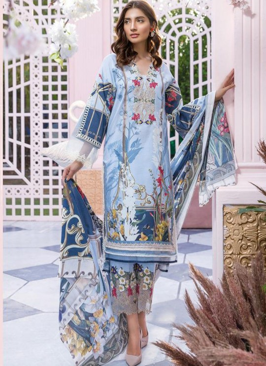 Blue Pure Cotton Resham Work Designer Daily Wear Pakistani Suits Firdous Vol 2 900602 By Deepsy SC/015673