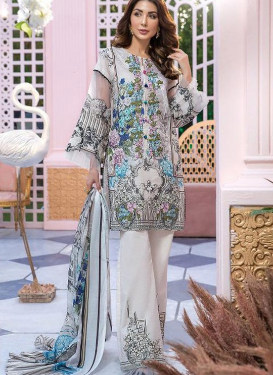 Grey Pure Cotton Resham Work Designer Daily Wear Pakistani Suits Firdous Vol 2 900605 By Deepsy SC/015673