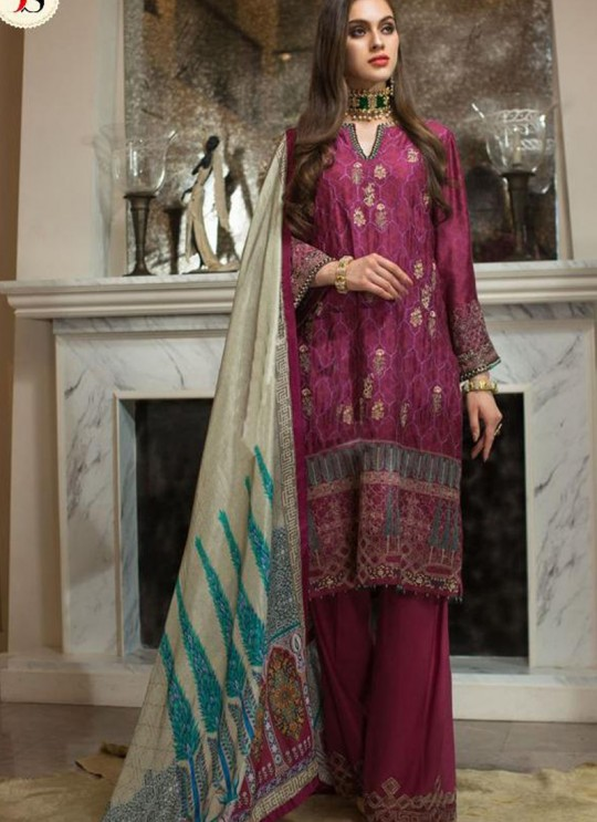 Wine Georgette Zari Embroidered Designer Pakistani Suits Gulbano Vol 10 800402 By Deepsy SC/015097