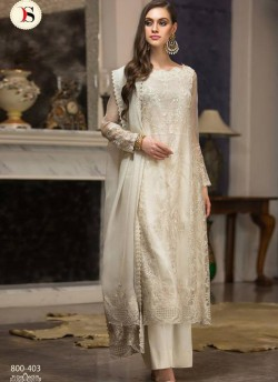 5fb701d8d5 Cream Georgette Zari Embroidered Party Wear Straight Cut Suits Gulbano Vol  10 800403 By Deepsy SC
