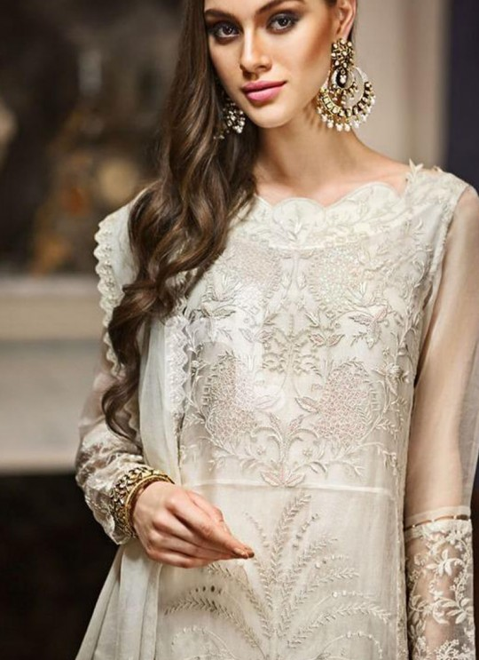 Cream Georgette Zari Embroidered Party Wear Straight Cut Suits Gulbano Vol 10 800403 By Deepsy SC/015097