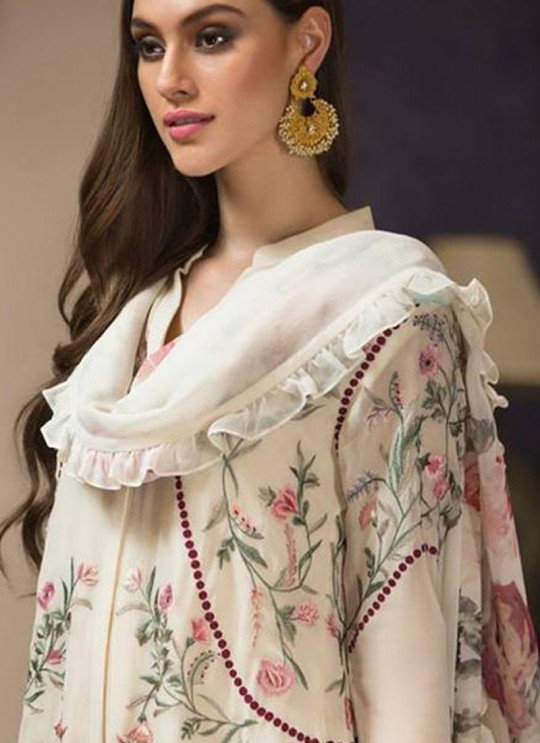 Off White Georgette Zari Embroidered Designer Pakistani Suits Gulbano Vol 10 800404 By Deepsy SC/015097