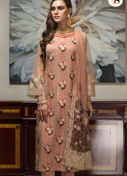 Pink Georgette Zari Embroidered Party Wear Pakistani Suits Gulbano Vol 10 800405 By Deepsy SC/015097