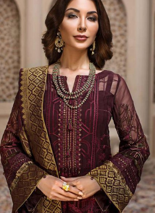 Brown Georgette Embroidered Designer Party Wear Pakistani Suits Jazmin 900401 By Deepsy SC/015523