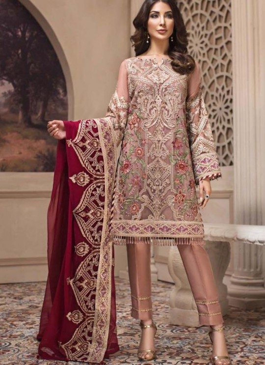Peach Georgette Embroidered Designer Party Wear Pakistani Suits Jazmin 900404 By Deepsy SC/015523