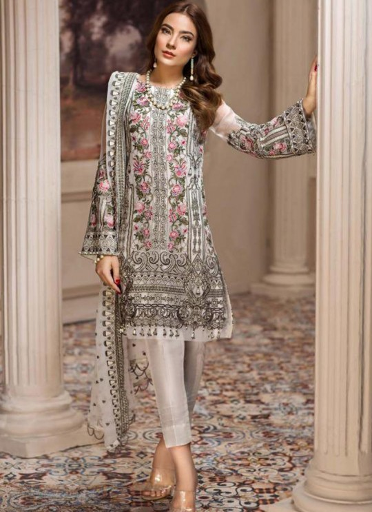 Off White Georgette Embroidered Designer Party Wear Pakistani Suits Jazmin 900406 By Deepsy SC/015523