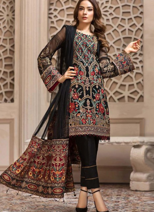 Black Georgette Embroidered Designer Party Wear Pakistani Suits Jazmin 900407 By Deepsy SC/015523