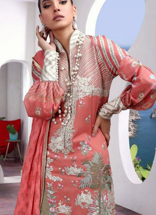 Party Wear Peach Cotton Pakistani Suit Muzlin Premium 022 By Deepsy SC/015804