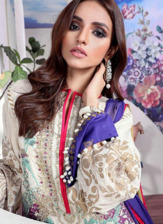 Festival Wear White Cotton Pakistani Suit Muzlin Premium 024 By Deepsy SC/015804