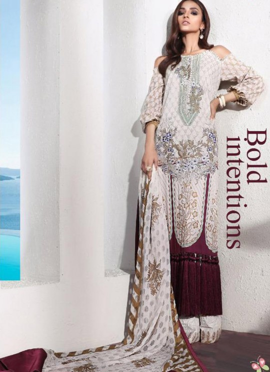 Party Wear White Cotton Pakistani Suit Muzlin Premium 025 By Deepsy SC/015804