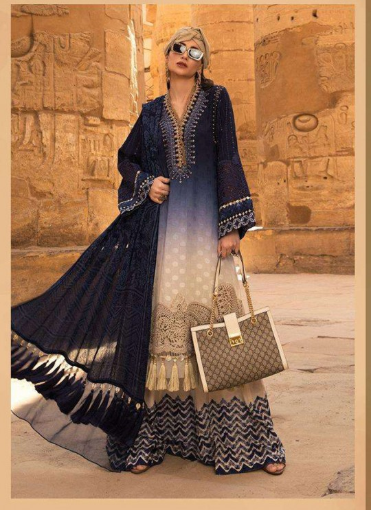 Maria B Lawn 20 Vol 2 By Deepsy Blue Pure Cotton Eid Wear Pakistani Suit 572