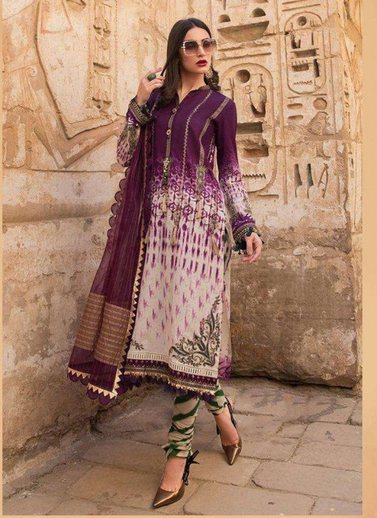 Maria B Lawn 20 Vol 2 By Deepsy Magenta Pure Cotton Eid Wear Pakistani Suit 573