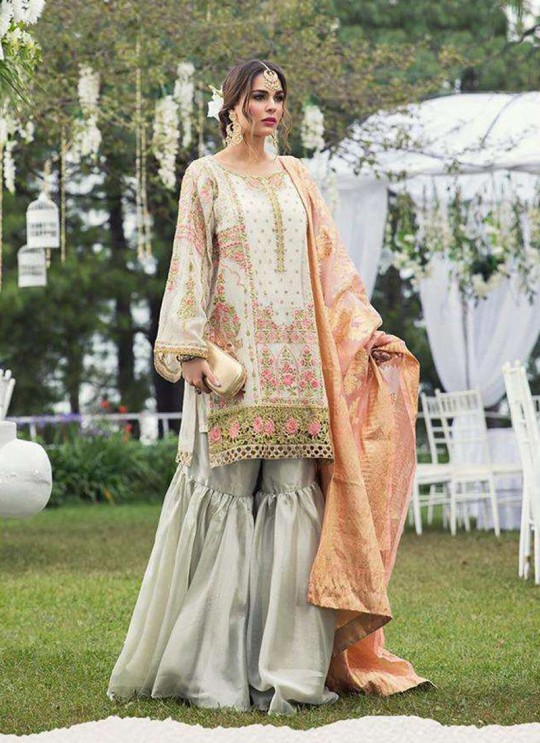 Maria B By Deepsy Cream Pure Cotton Eid Wear Pakistani Suit 436