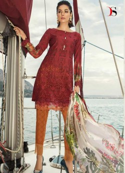 6331d084db Maroon Pure Cotton Sifali Work Summer Wear Pakistani Suits Maria B Lawn Vol  19 700801 By