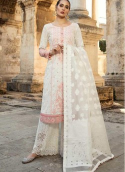 61f8035e01 Off White Pure Cotton Sifali Work Summer Wear Pakistani Suits Maria B Lawn  Vol 19 700802