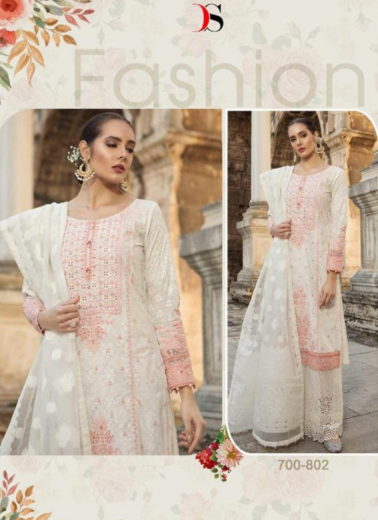Off White Pure Cotton Sifali Work Summer Wear Pakistani Suits Maria B Lawn Vol 19 700802 By Deepsy SC/014207