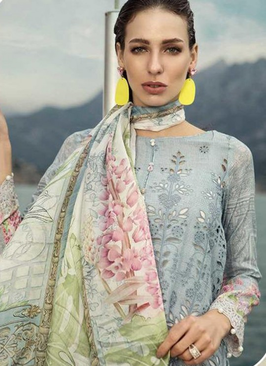 Grey Pure Cotton Sifali Work Summer Wear Pakistani Suits Maria B Lawn Vol 19 700803 By Deepsy SC/014207