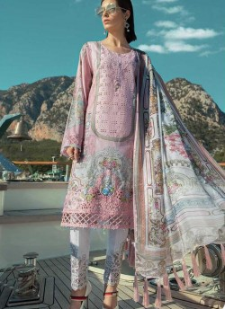 b19a2dfc93 Pink Pure Cotton Embroidered Summer Wear Pakistani Suits Maria B Lawn Vol 19  700805 By Deepsy