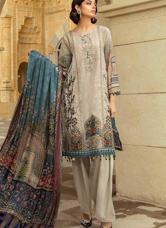 Beige Pure Cotton Embroidered Summer Wear Pakistani Suits Maria B Lawn Vol 19 700806 By Deepsy SC/014207