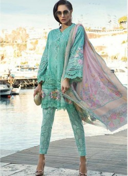 5361f78f67 Sea Green Pure Cotton Embroidered Summer Wear Pakistani Suits Maria B Lawn  Vol 19 700807 By